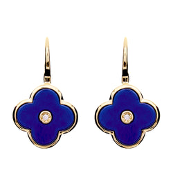 Flower Lappis Blue & Gold Plate Earring