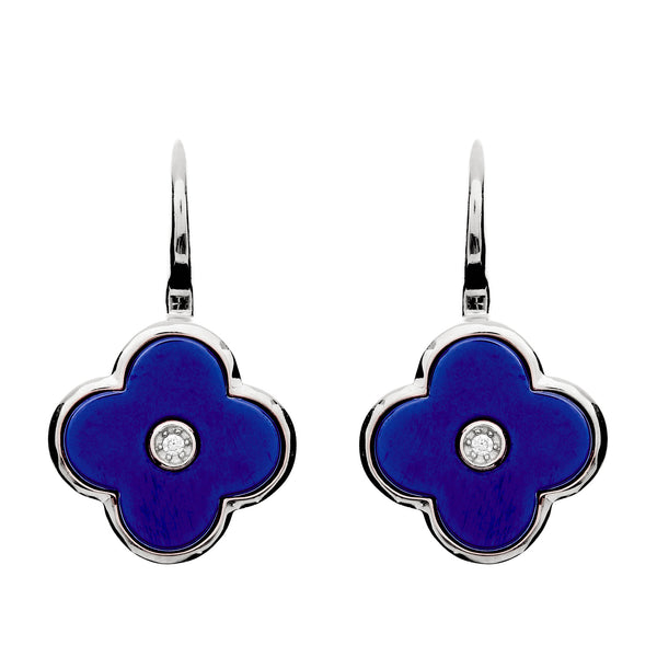 Flower Lappis Blue & Silver Earring.