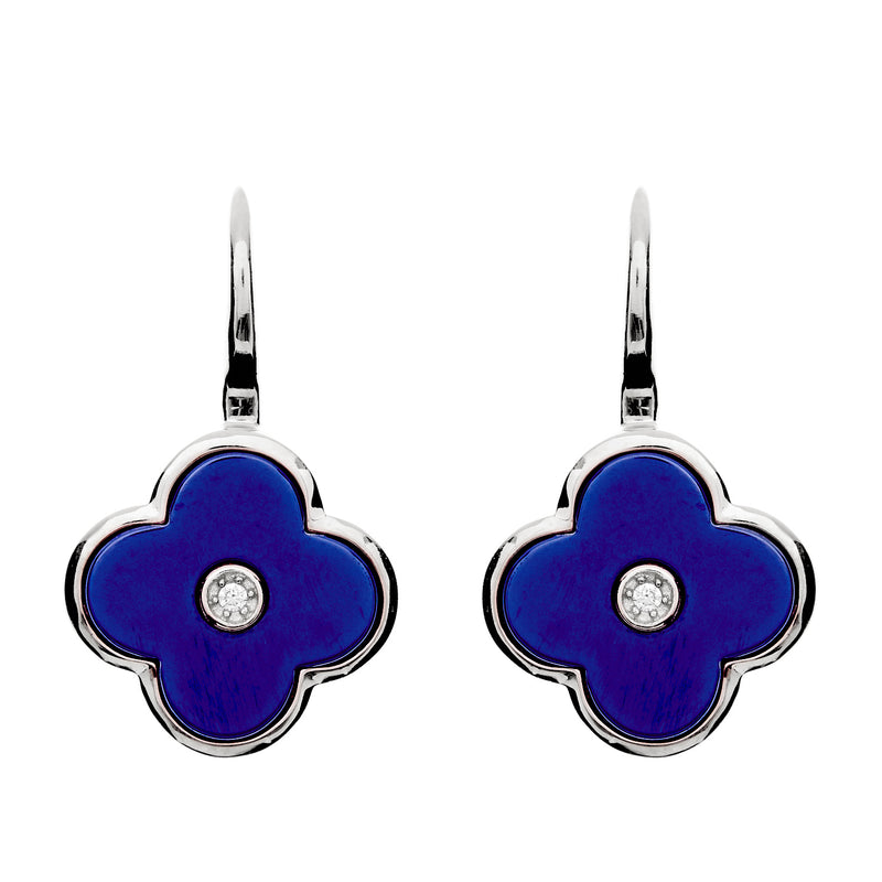 Flower Lappis Blue & Silver Earring