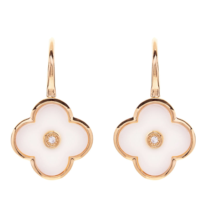 Flower White & Gold Earring