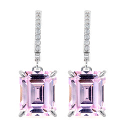 Pink Emerald Cut Drop Earrings