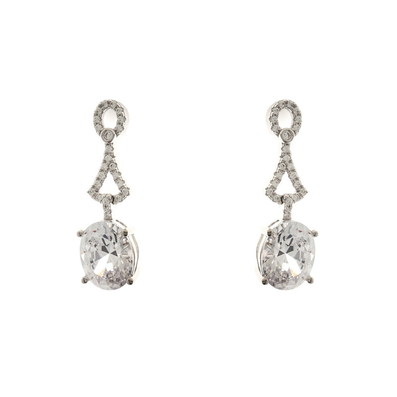 Rhodium Oval Cz Earrings