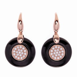 Rose Gold Plate & Black Ceramic Earrings