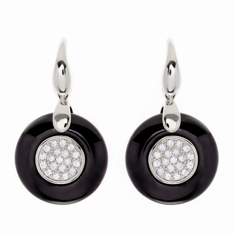 Rhodium Plate & Black Ceramic Earrings