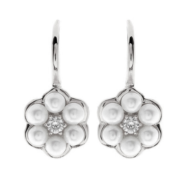 Button Pearl Rose Gold Flower Earring