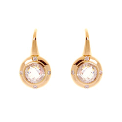 Round Gold Cubic Zirconia Hook Earrings