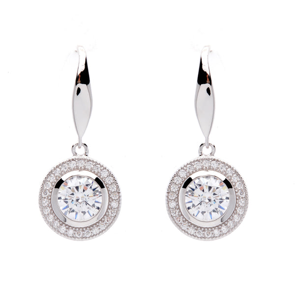 Round Micro Pave Silver Hook Earrings