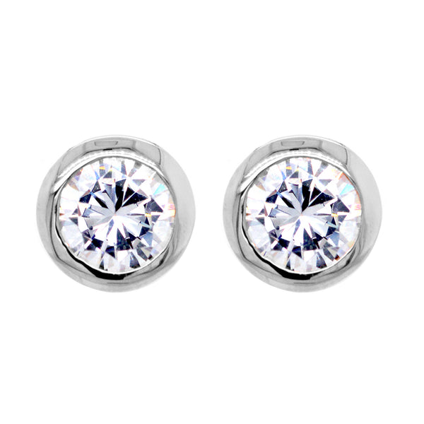 Belle Silver Cubic Zirconia Stud Earrings