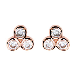 Jade Rose Gold Stud Earrings