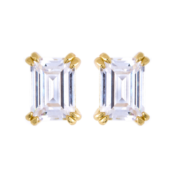 Ayla Baguette Gold Stud Earrings