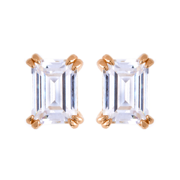 Ayla Baguette Rose gold Stud Earrings
