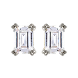 Ayla Baguette Rhodium Stud Earrings