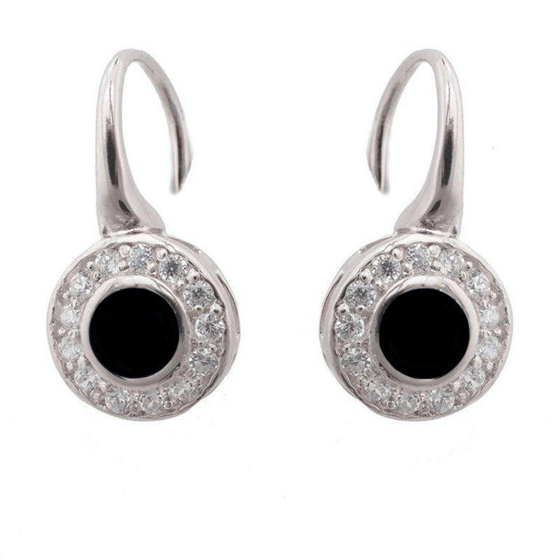 Rhodium Black CZ Centre Hook Earrings