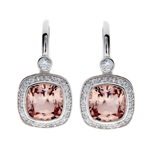 Phoebe Pink & Cubic Zirconia Square Earrings