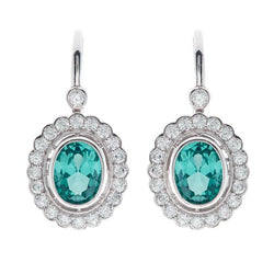 Elizabeth Oval Green Cubic Zirconia Earrings