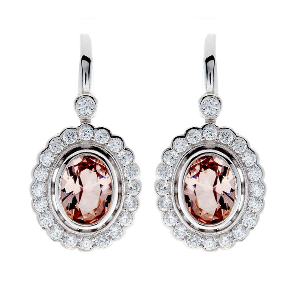 Elizabeth Oval Pink Cubic Zirconia Earrings