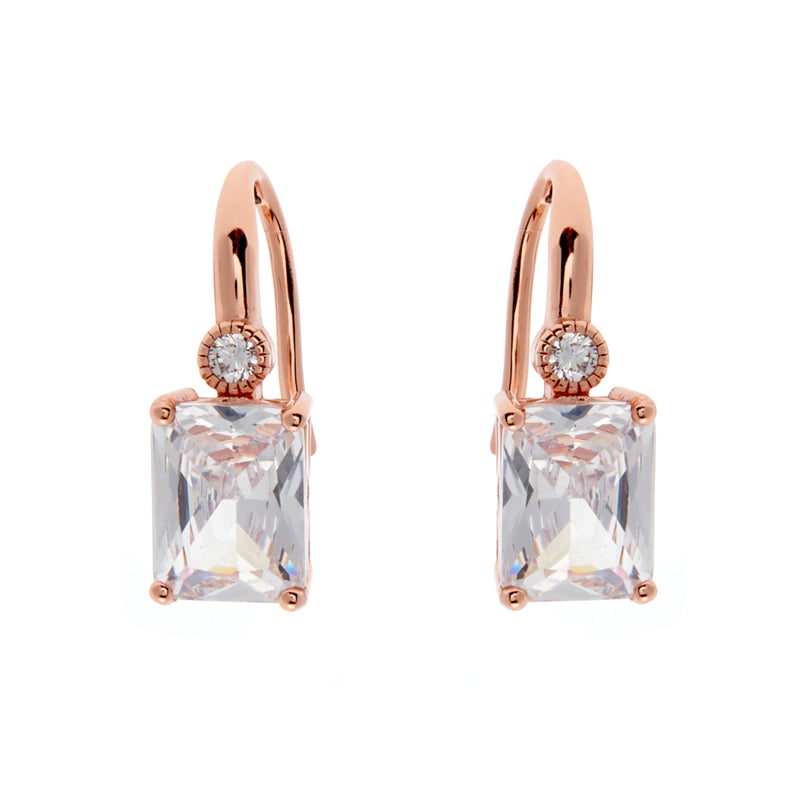 Baguette Rose Gold Earrings