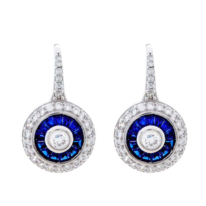 Micro Pave Sapphire & Clear CZ Earrings