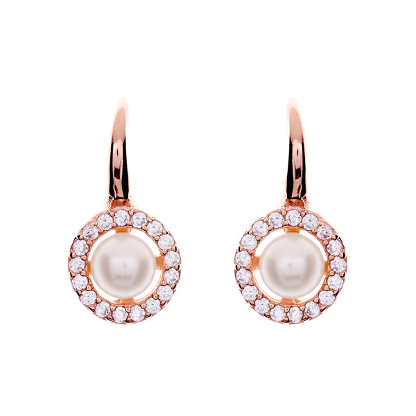 Grace Rose Gold Pearl Hook Earrings