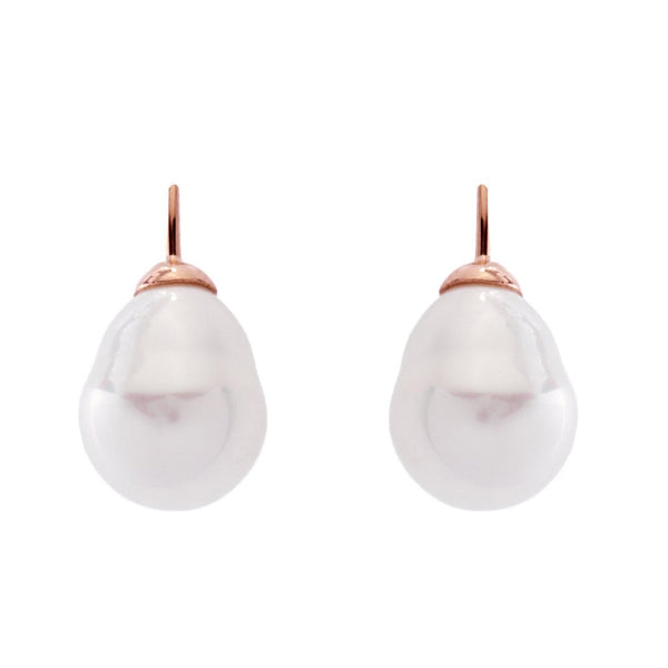 Classic Baroque White Pearl & Rose Gold Plate Hook Earrings