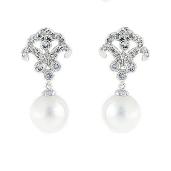 Antique White Round Pearl Drop Earrings