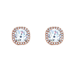 Two tone CZ Stud Earrings