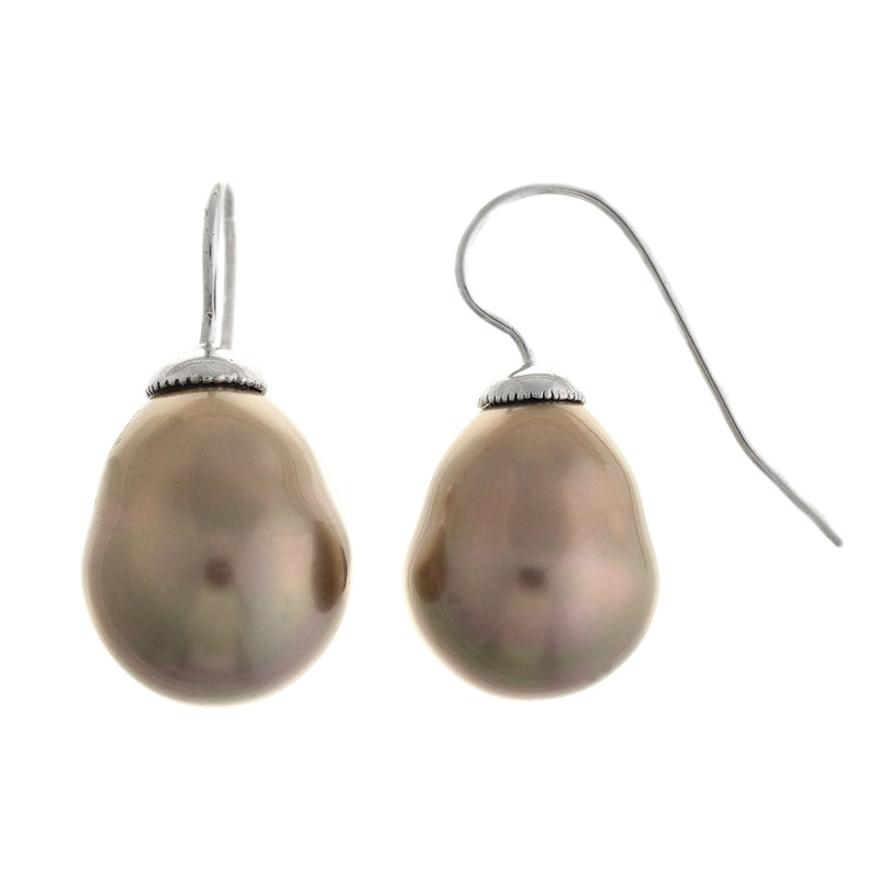 Classic Baroque Coffee Pearl Hook Earrings