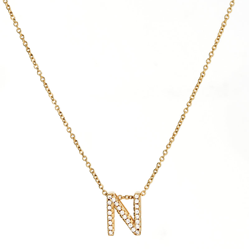 A-Z Initials by Sybella - Gold with Cubic Zirconia