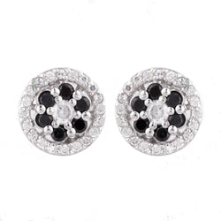 Black and White Round Cubic Zirconia Stud Earrings