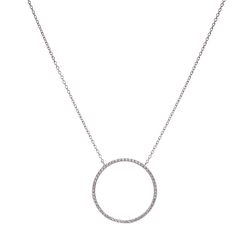 Large Circle Silver Necklace