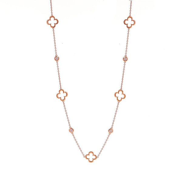 Hollow flower Rose Gold Necklace