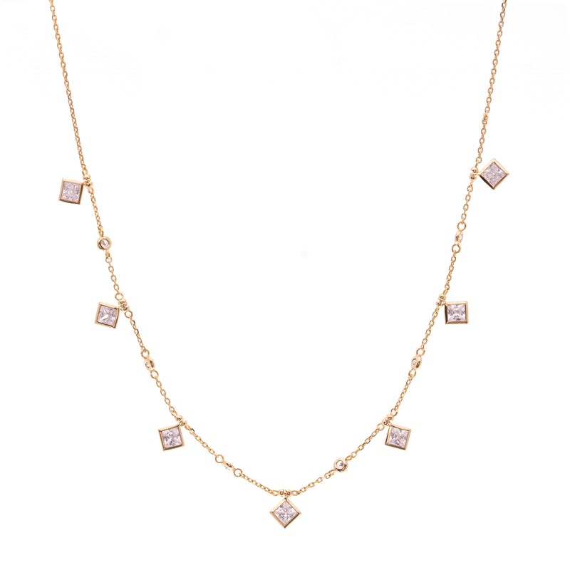 Gold Rhombus & CZ Necklace