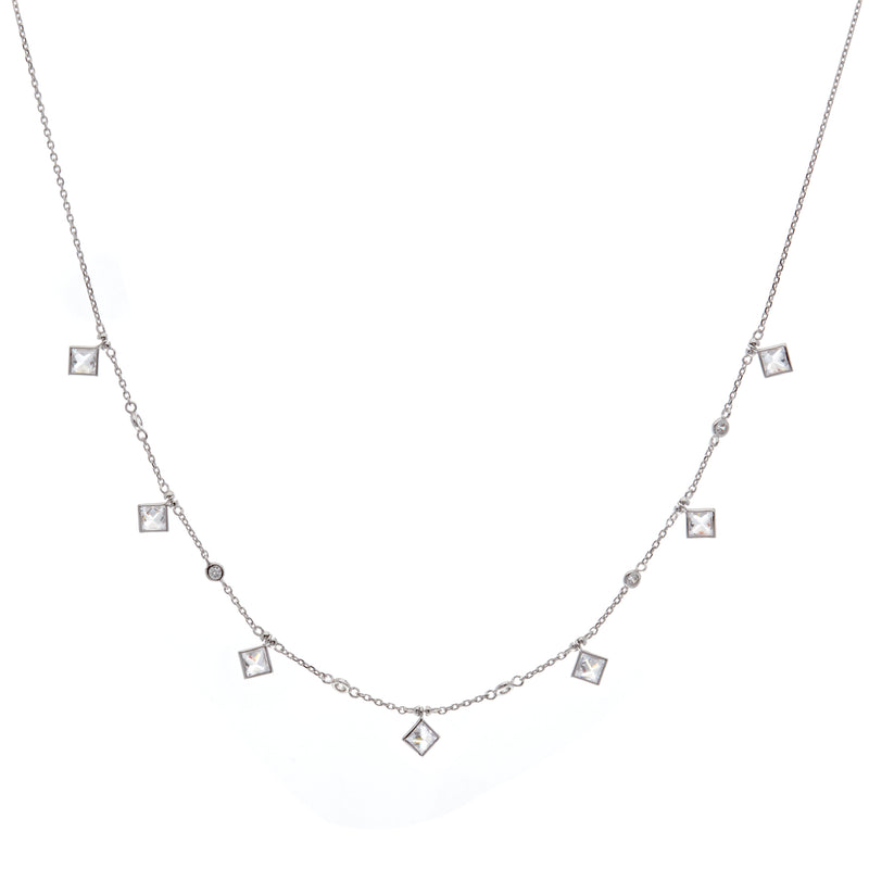 Silver Rhombus & CZ Necklace