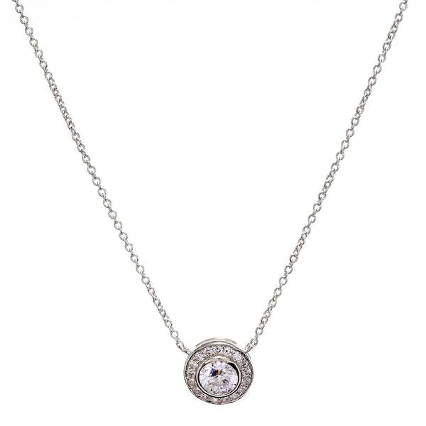 Round Silver Cubic Zirconia Necklace