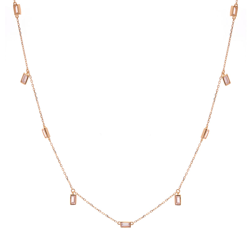 Gold Baguette & CZ Necklace