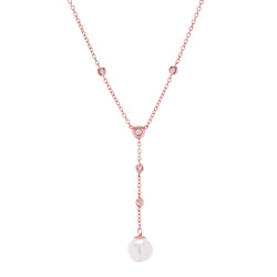 Issy Pearl Drop Rose Gold Necklace
