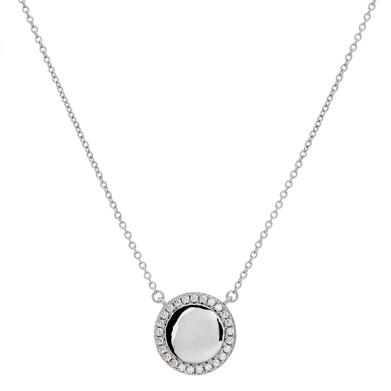 Rhodium CZ Disc Necklace on Fine Chain