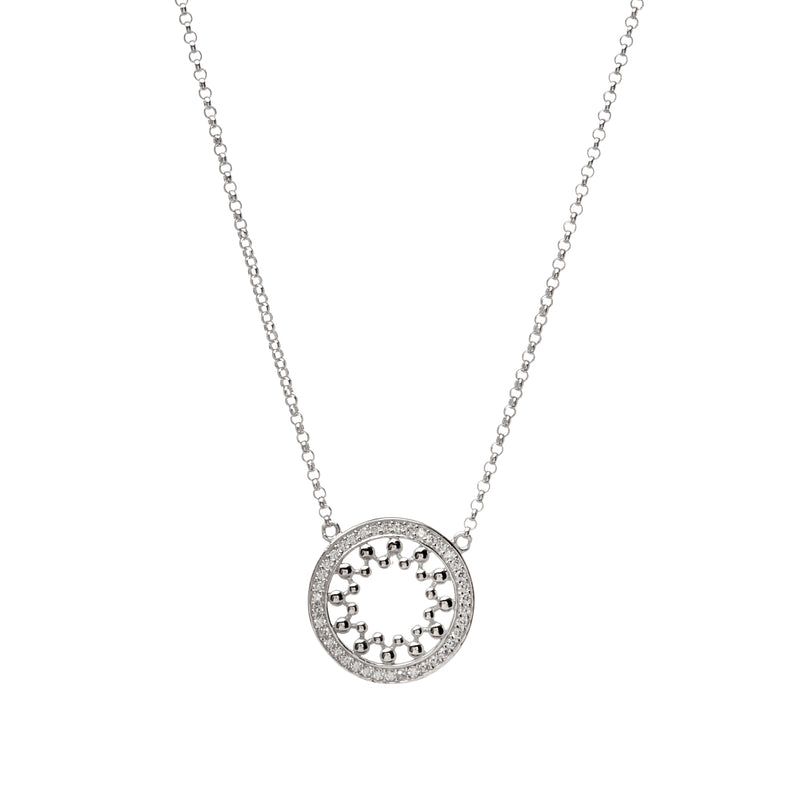 Rhodium CZ Pendant on fine chain