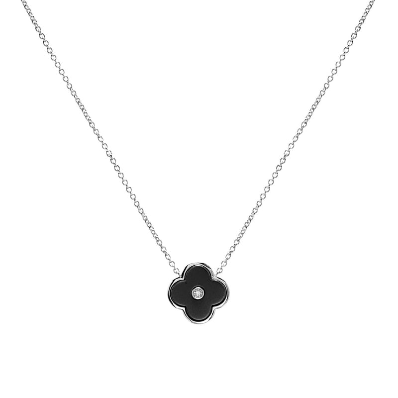 Flower Black & Silver Necklace