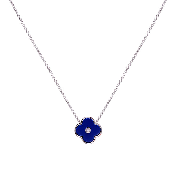 Flower Lappis Blue & Silver Necklace