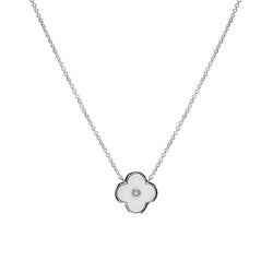 Flower White & Silver Necklace