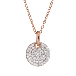 Rose Gold Pavé Cubic Zirconia Disc Necklace