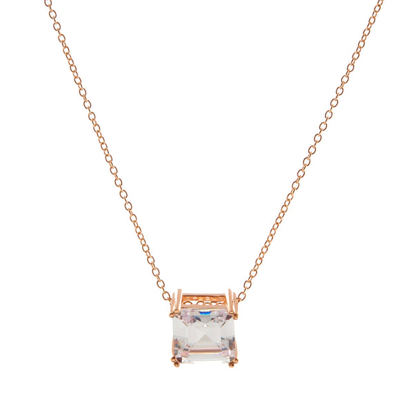 Asscher Cut Cubic Zirconia Rose Gold Necklace