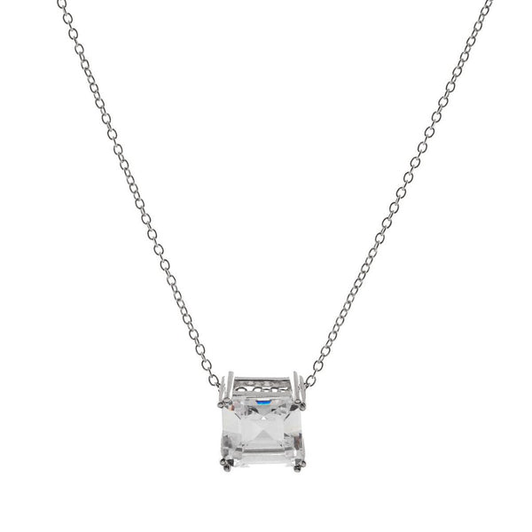 Asscher Cut Cubic Zirconia Silver Necklace