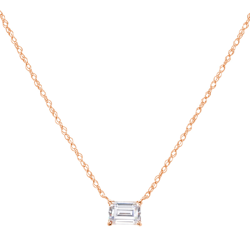 Ayla Rose Gold Plate Baguette Necklace