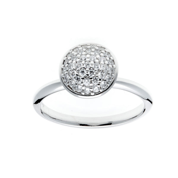 Round Pave Dome Silver Ring