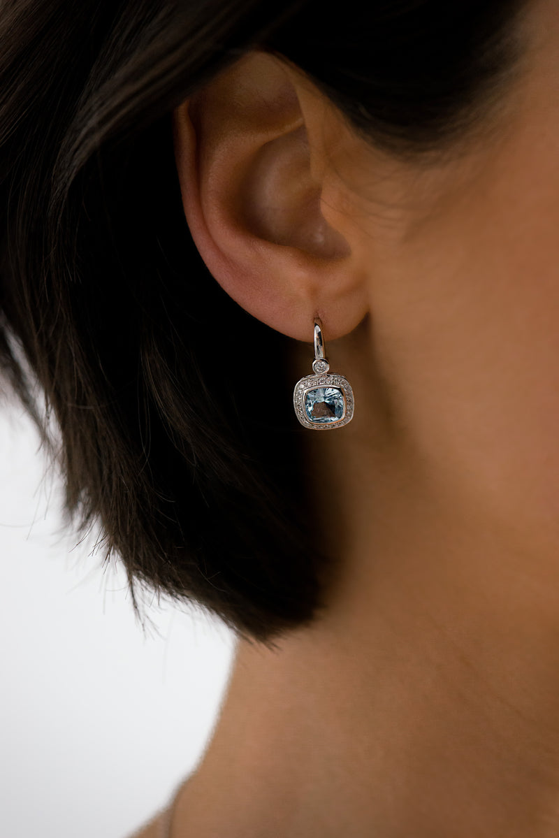 Phoebe Blue & Cubic Zirconia Square Earrings