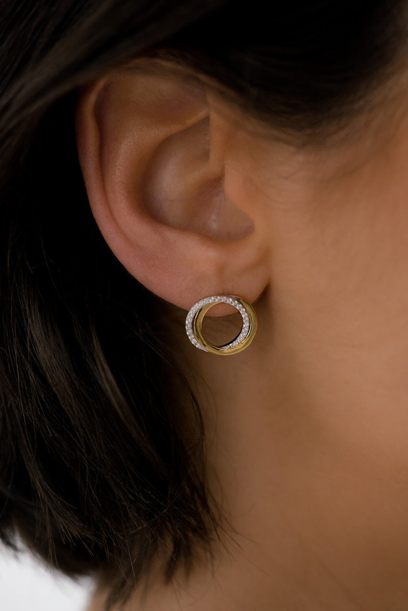 Thea Two Tone Rose Gold Earrings