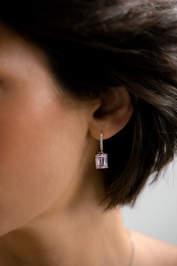 Aqua Emerald Cut Drop Earrings