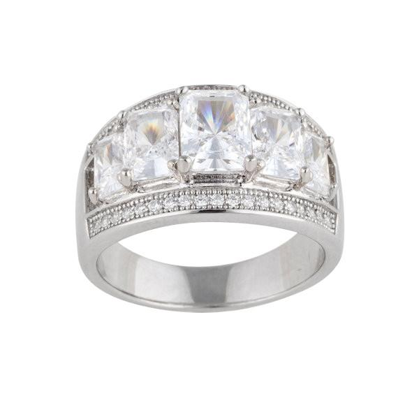Radiant Cut Cubic Zirconia Silver Ring